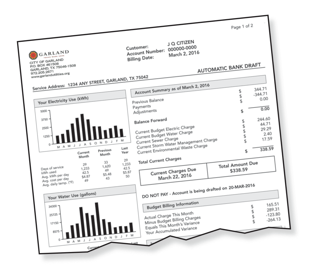 Example Combined Utility Bill